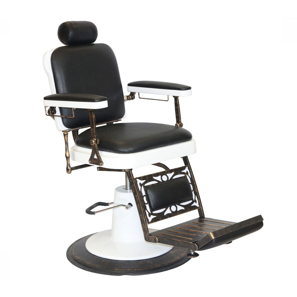 Chicago Barber Chair with Black Upholstery