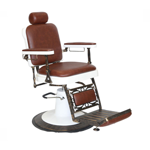 Chicago Barber Chair with Brown Upholstery