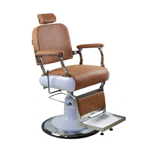 Dallas Barber Chair with Brown Upholstery