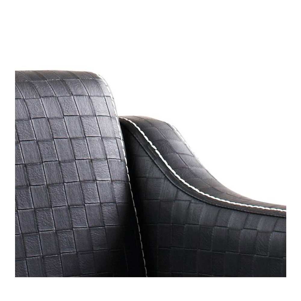 High quality checkered upholstery with white stitching