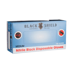 Salon Supplies Teaser for Black Shield Disposable Gloves MED 100pk