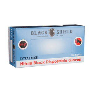 Salon Supplies Teaser for Black Shield Disposable Gloves XLGE 100pk