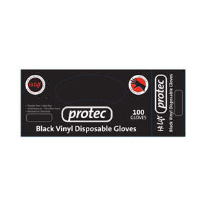 Salon Supplies Teaser for Protec Black Vinyl Gloves Medium