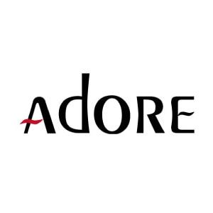 Bottles of Adore Semi Permanent Hair Color in Violet, Lavender, Platinum, Ruby Red, and Aquamarine