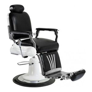 A barber chair with black seat and white base