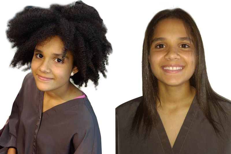 Comparison of a girl who have a afro hair before and straight hair after