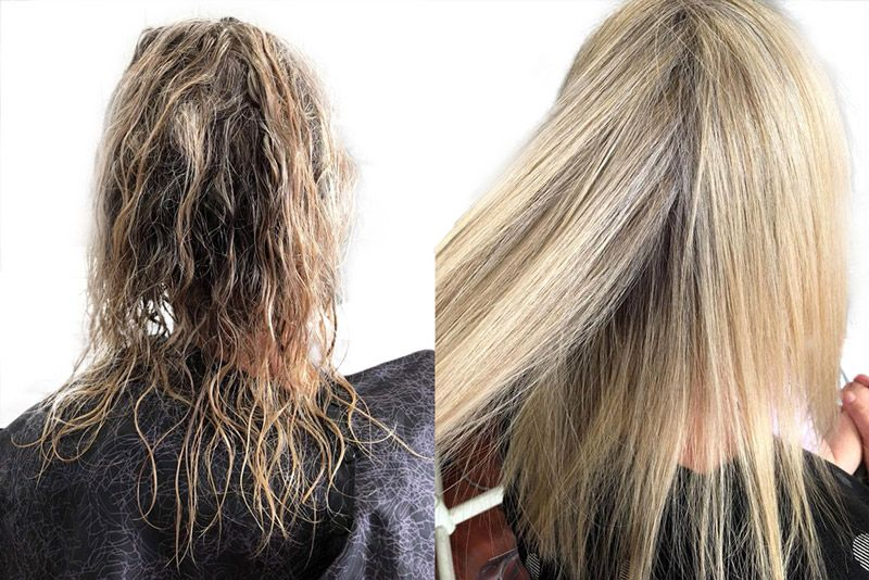 Comparison of a blonde woman who have a dry hair before and healthy hair after
