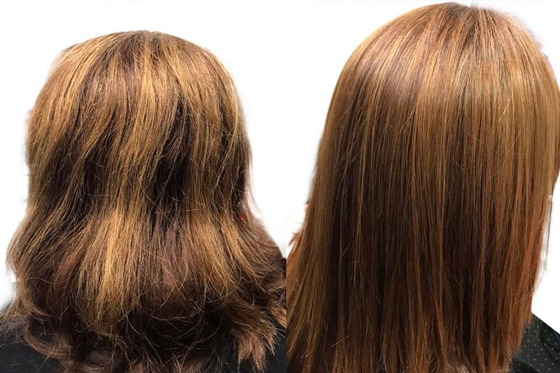 Comparison of a woman who have a wavy hair before and healthy straight hair after