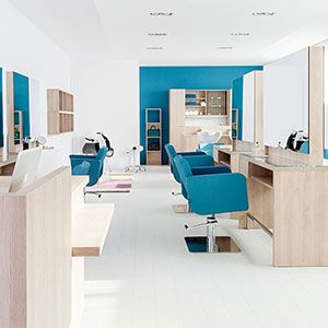 White salon space with blue accent