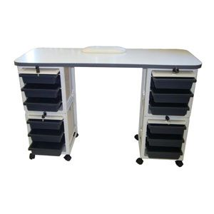 White Manicure table with black compartments